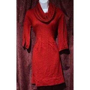 Alto Petite Red Scoop Knit Neck Sweater Dress
